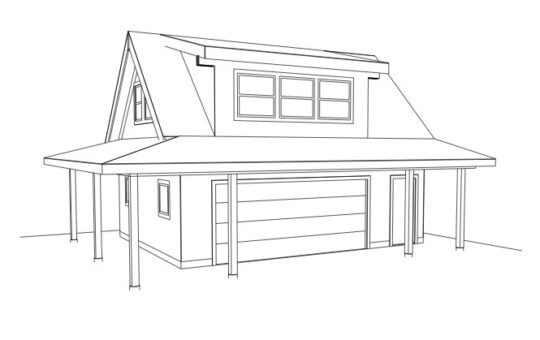 Carriage House Double Garage Sketch